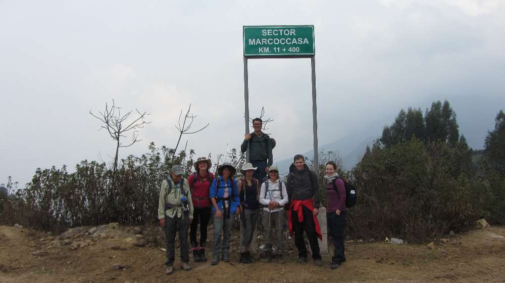 Group picture at the start of the Salkantay Trek hike to Machu Picchu