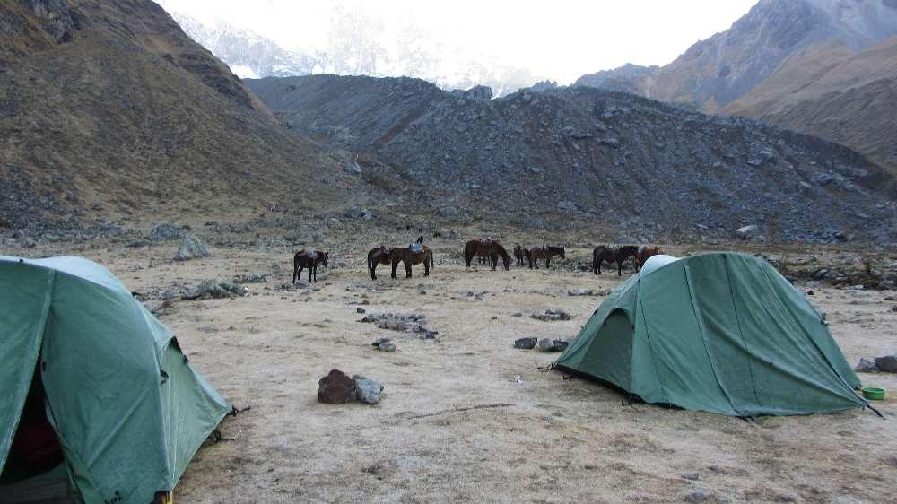 Making camp whilst hiking in Peru