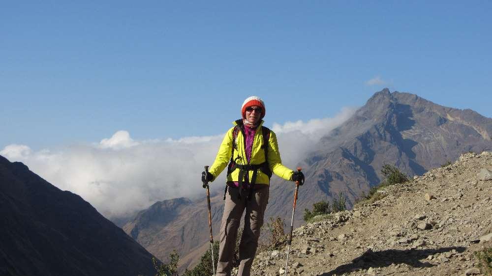 Jane hiking in Peru on Salkantay