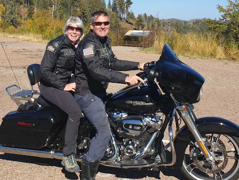 Peter and Jane on a Harley Davidson for pet peeves post