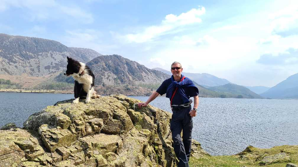 Peter with the dog at Ennerdale Water