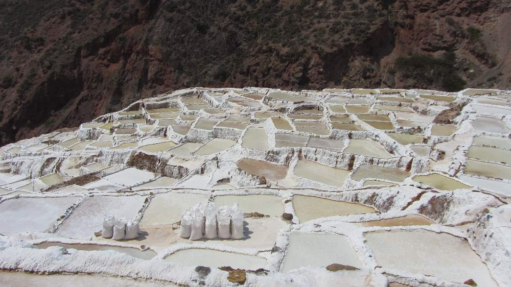 Close up of salt pans at Maras in Sacred Valley