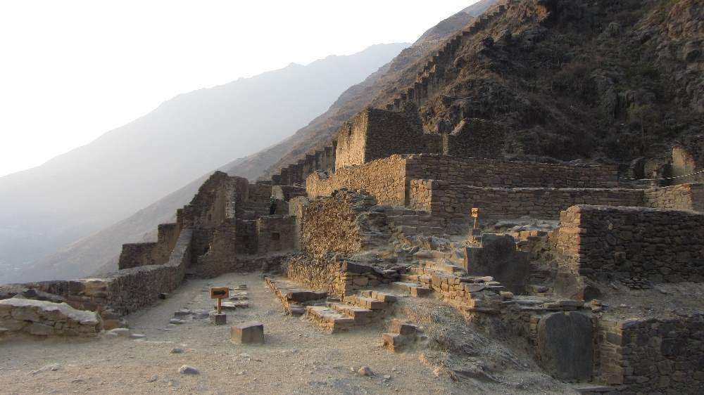 Inca ruins in Ollantaytambo when hiking in Peru