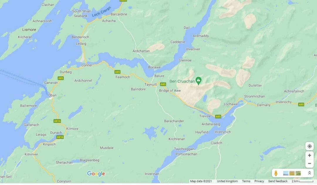 Map showing Ben Cruchan