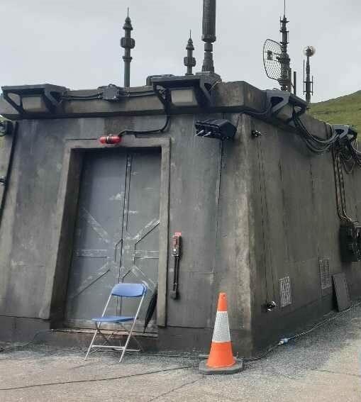Futuristic doors on the dam